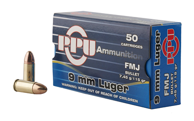 PPU 9MM FMJ 115GR 50/1000 - for sale